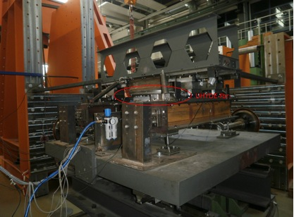 Test set-up at the University of Kassel in Germany showing the friction device, named UHYDE-fbr.